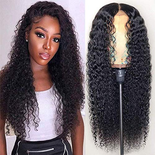 Kinky Curly Lace Frontal Wigs Human Hair 13x4 Pre Plucked Natural Hairline Wigs for Women Kinkys Curly 150% Density Full and Bouncy Malaysian Curly Wig with Baby Hair (20 inches)