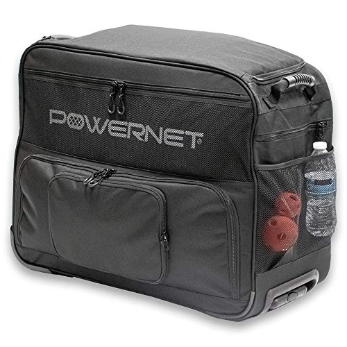 PowerNet Rolling Baseball Coach Bag Caddy   Holds Up to Two Ball Buckets w/Padded Seats   Telescoping Pull Handle Rugged Wheels for Any Surface   Bucket Organizer for Softball