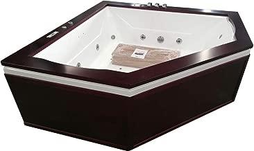 SDI Factory Direct Indoor 2 Person Whirlpool Hydrotherapy Massage Spa Bathtub Corner Bath Tub w/Heater, Bluetooth, Ozone Generator, Remote Control