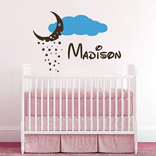 Sticker mural personnalisé Motif nom personnalisé cadeau Cloud lune et nuages enfant chambre de garçon et fille en Vinyle Décoration murale style bébé, Stickers muraux