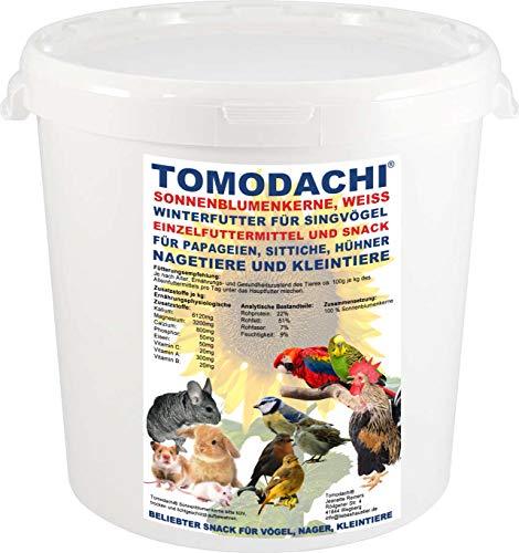 Tomodachi Nagerbelohnung Sonnenblumenkerne Nagerfutter, Leckerei, Kaninchensnack, Naturprodukt, Futterergänzung, Verdauung, Stoffwechsel, ungesättigte Fettsäuren Sonnenblumenkerne 3kg Eimer