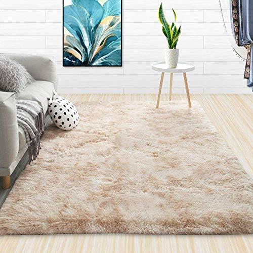 HaoLi Shaggy Rugs Soft Plain Thick Pile, Modern Minimalist Carpet, Tie-Dye Comfortable Carpet-Beige_50 * 80CM, Ultra Soft Living Room Alfombra Que no se desprende