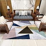 Alfombra moderna para sala de estar, suave al tacto, grande, alfombra para dormitorio, alfombra de moda, color negro, azul, rosa, gris, geométrico, 160 x 280 cm