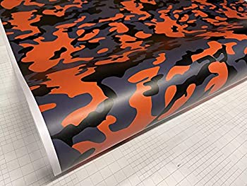 Sky Auto INC Yellow-Orange Black Gray Camouflage Vinyl Car Wrap Film Sheet + Free Cutter & Squeegee  Except Sample Size   3FT x 5FT / 36  x 60