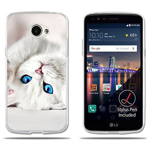 fubaoda LG K5/Q6/X220ds Hülle, [Weißes Kätzchen] Transparentes Silikon Clear TPU Modernes Design Design Kreatives Design Slim Fit Shockproof Flexible Stylish Silikon Protector für LG K5/Q6/X220ds