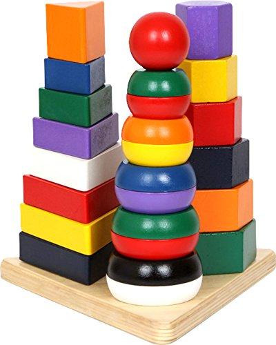 small foot 1731 Pyramide 3 en 1 en bois, aux couleurs vives, favorise la motricité, la logique et la coordination œil-main.