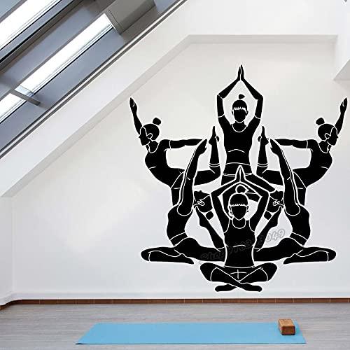 F FANTASY 'ART Yoga Studio - Adhesivo decorativo para pared, diseño de yoga, 30 x 31 cm