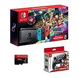 Nintendo Switch, Neon Blue/Neon Red Joy-Con Bundle Mario Kart 8 Deluxe, Super Mario Odyssey, Nintendo Switch Pro Controller, 3month Nintendo Switch Online Membership, Woov Micro SD 128 GB