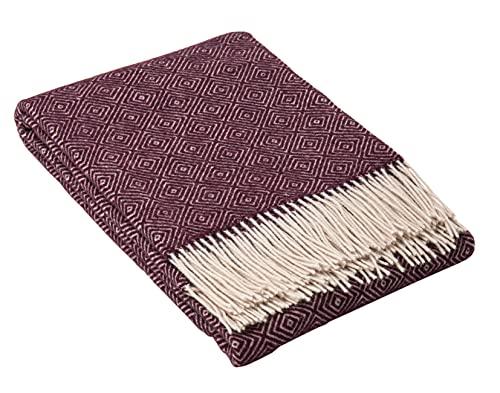 Nostra | Merino Wolldecke Merino-300 | 80prozent Merinowolle | Sofadecke| Warme & gemütliche Tagesdecke | Dunkle Pflaume Decke | 140x200 cm