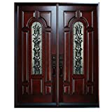 30'X30'X80' Exterior Entry Front Door Belleville Style Left Hand in-Swing Prehung Stained Double Door Solid Wood-Oval Glass