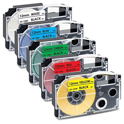 UniPlus 5x Kompatible Schriftband als Ersatz für Casio XR-12WE XR-12RD XR-12BU XR-12GN XR-12YW Etikettenband 12mm für Casio KL-60 70E 100 100E 120 200 200E, Schwarz auf Weiß/Rot/Blau/Grün/Gelb