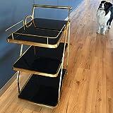 Servierwagen Roll-Servicewagen mit Griff, Barwagen, Teewagen, multifunktionaler Küchen-Seitenwagen für zu Hause, 3-Tier-schwarzes Gold Schmiedeeisen Größe: 63 * 45 * 84cm