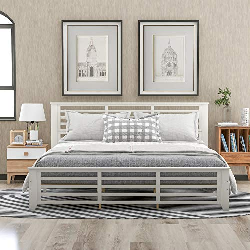 SOFTSEA Wood Platform Bed with Headboard and Footboard / No Box Spring / Wood Slat Support, Horizontal Strip Hollow Shape Bed Frame, King Size, White