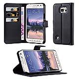 Cadorabo Hülle kompatibel mit Samsung Galaxy S6 Active Hülle in Phantom SCHWARZ Handyhülle mit Kartenfach & Standfunktion Schutzhülle Etui Tasche