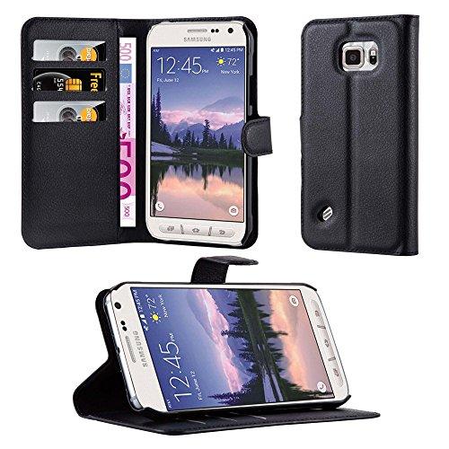 Cadorabo Hülle für Samsung Galaxy S6 Active in Phantom SCHWARZ - Handyhülle mit Magnetverschluss, Standfunktion & Kartenfach - Hülle Cover Schutzhülle Etui Tasche Book Klapp Style