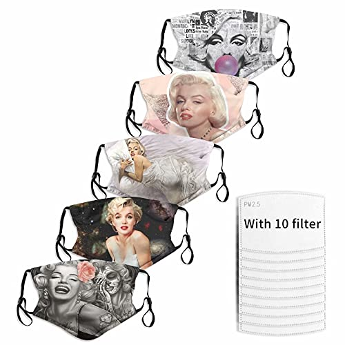 5PCS Marilyn Monroe Breathable Cloth Face Mask Washable Reusable Dust-Proof Balaclava Bandana Neck Gaiter Adjustable Face Cover for Adults Kids Men Women Boys Girls Made in USA Medium