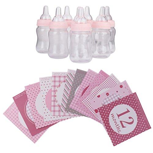 Gazechimp 12 Piezas / Set Mensual Pegatinas de Bebé Regalos para Fiesta De Bienvenida Al Bebé Apoyo de Fotografía+12 Piezas Botella de Leche de Caramelo