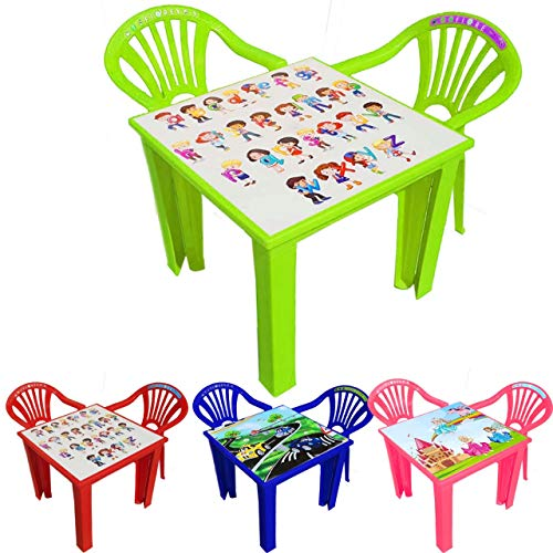 A406 Children Strong Table and Chairs set for Kids Toddlers Plastic Nursery Set Outdoor indoor Tea (Table + 2 Chairs, Green)