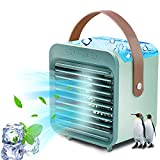 Portable Air Conditioner,UBS Rechargeable Evaporative Air Conditioner Fan with 3 Speeds, Air Conditioner Humidifier Atomizing Fan Cordless Personal Air Cooler Fan with Handle for Room Office