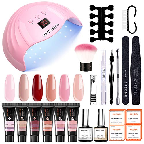 Modelones Poly Extension Gel Nail Kit - 6 Colors with 48W U V/LED Light Nail Lamp Slip Solution Rhinestone Glitter All In One Kit for Nail Manicure Beginner Starter Kit DIY at Home Kit 2