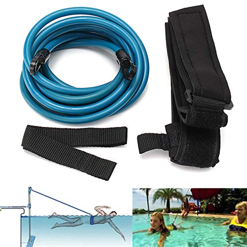 WETERS Schwimmtraining Leine, Hundeleine Trainings-Schwimmen Gürtelcordfadens Sicherheit Swimming Pool Zubehör, verstellbare Erwachsene Kinder Schwimmtrainer (4M)