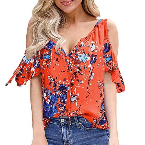 COZOCO 2019 Heiße verkaufende Art- und Weisekurzschluss-Hülse der Frauen Weg von der Schulter-Blumendruck-T-Shirt beiläufige Spitzenbluse