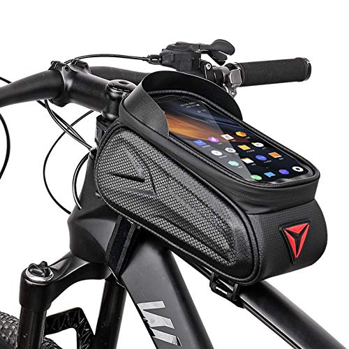 Bolsa para Bicicleta de montaña Bolsa de Sillín de Tubo Superior de Espacio Grande Bolsa Impermeable para Teléfono Bolsa para Viga Delantera de Bicicleta, para Teléfonos de hasta 7.0 Pulgadas
