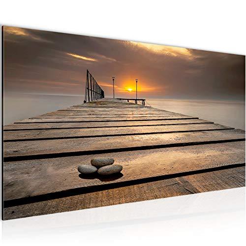 Pintura Mural Puesta De Sol 1 Parte Moderno Cuadro Lienzo no Tejido Sala Corredor Mar Puente Beige 020312a