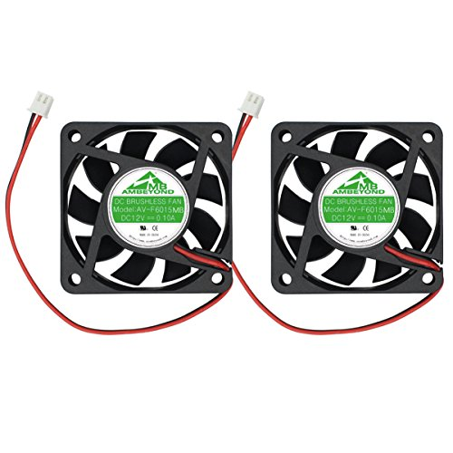 Paquete de 2 ventiladores de refrigeración sin escobillas de 60 mm por 60 mm por 15 mm 6015 12 V CC 0,10 A, 2 pines AV-F6015MB UL TUV