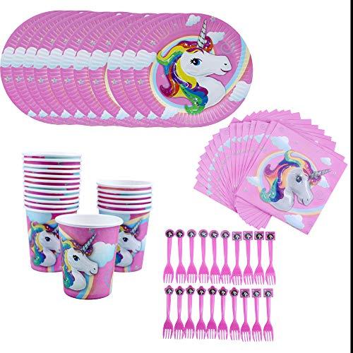 Amycute 80 pcs 20 niños Vajilla Diseño Unicornio Desechable, Vasos, Platos, Servilletas, Cubiertos Vajilla de cumpleaños Infantil Fiesta de Unicornio Fiesta Deco, Baby Shower