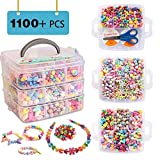 Beads for Kids, 1100 Jewelry Making Bead Kit Includes Scissor, String, 3 Hair Hoops, Instruction and Accessories for Bracelet Making, Perfect Gift for Girls by Inscraft