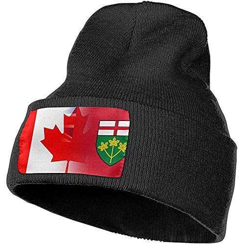 Quintion Robeson Männer Frauen Flagge Ontario Kanada Kunst Mütze Hut Manschette Einfacher Schädel Strickmütze Mütze