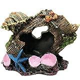 SLOCME Acuario de barril roto con decoraciones de cáscara – Betta Cave Escondite tanque de peces adorno
