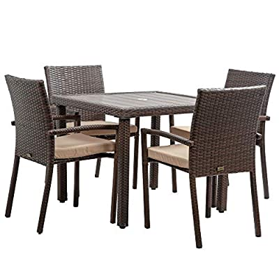 BELLEZE Mariel 5 Pieces Outdoor Patio Dining Set Wicker Slat Table with Umbrella Cut Out and 4 Cushioned Chair, Brown