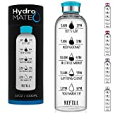HydroMATE 32 oz Glass Water Bottle with Time Markers Track Water Intake with Motivational Times to Drink Water Reminders Hydro MATE 1 Liter Turquoise