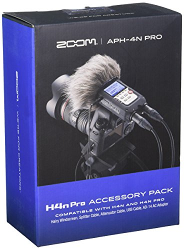 Zoom APH-4nPro Accessory Pack for H4n Pro Portable Recorder, Includes Hairy Windscreen, Splitter Cable, Attenuator Cable, USB Cable, and AC Adapter
