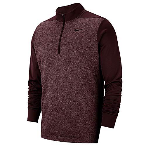 Nike Men's Mock Neck Long Sleeve Quarter-Zip Dri FIT Therma Pullover Golf Jacket (Burgundy Crush HTR, XX-Large)