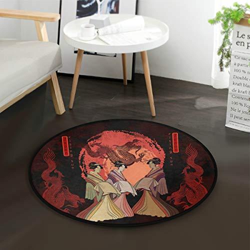 Mnsruu Asiatique Culture Japonaise Sun Dragon Geisha Tapis rond pour salon, chambre à coucher, 92 cm de diamètre