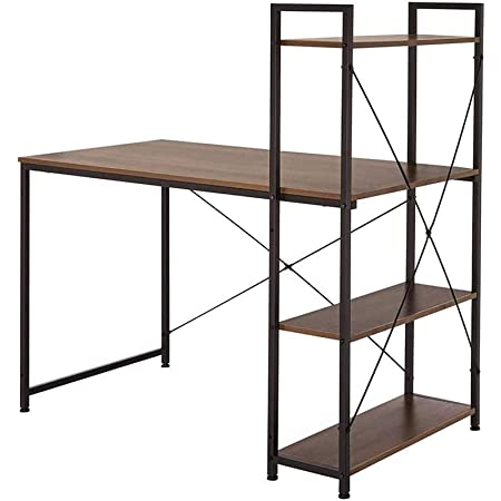 AZ L1 Life Concept Tower Computer 4 Tier Shelves-55'' Multi Level Writing Study Table with Bookshelves Modern Steel Frame Wood Desk Compact Home Office Workstation, 55Lx23.6Wx29.1H, Brown