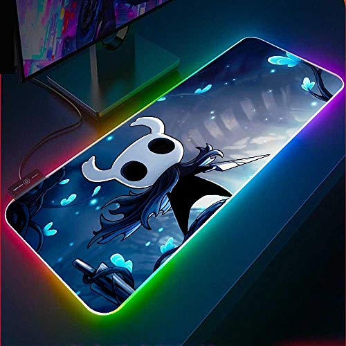 Hollow Knight Gaming Mouse Pad RGB Laptop Mini Carpet Keyboard Pad with USB Backlight LED Mousepad Gaming Accessories Desks-300x600x4mm_Hollow Knight