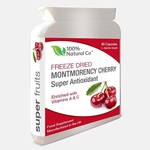 Montmorency Cherry Kapseln - 90 Kapseln - 100% Natural Co - Potent Gefriergetrockneter Extrakt - Antioxidans und Erholung