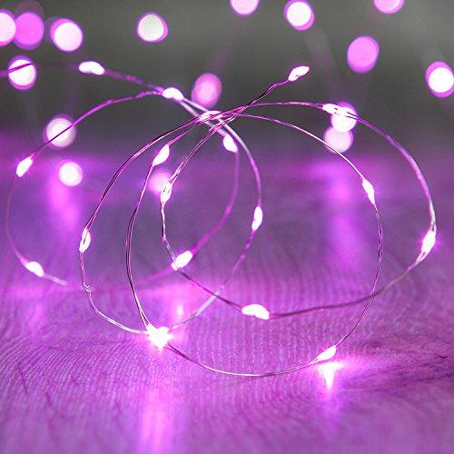 Lights4fun 20er LED Draht Micro Lichterkette pink Batteriebetrieb