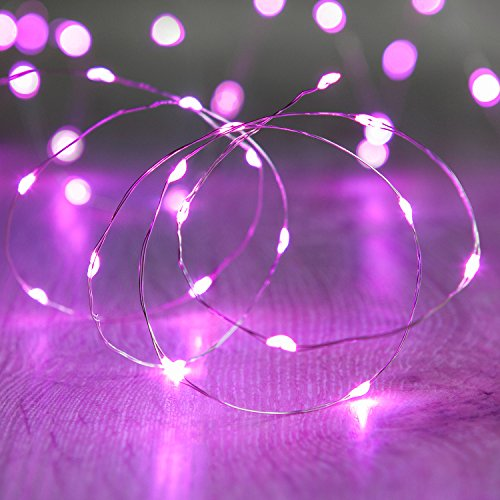 Lights4fun 20er LED Draht Micro Lichterkette pink Batteriebetrieb