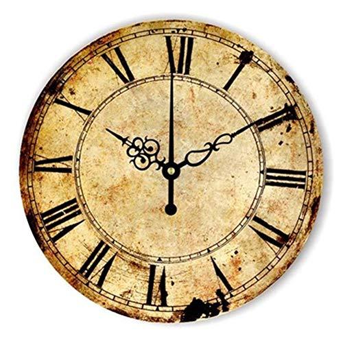 FOOSKOO Wall Clocks Horloge Murale Style rétro Vintage Vintage muet Grande Horloge Murale Montre Shabby Chic Home Decor Salon 16 Pouces / 40 cm (Conception : G)