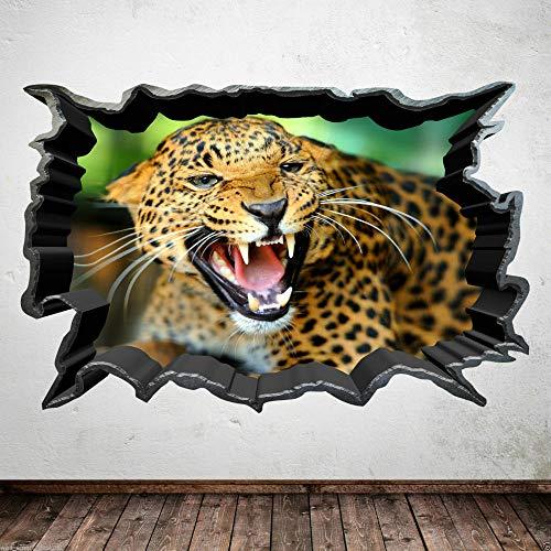 Leopardo a todo color, gato de la selva, animal salvaje, habitación, adhesivo para pared, fondo, cartel de pared, 50x70cm