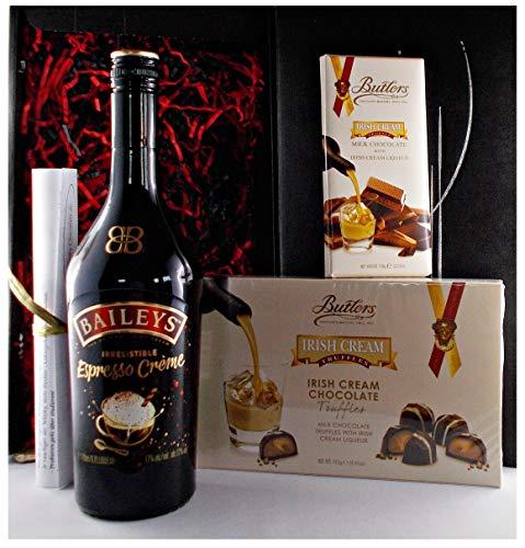 Geschenk Baileys Espresso irischer Creme Likör + irish Cream Truffles + irische Schokolade