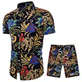 VEZAD Men's Ethnic Style Printed Cotton And Linen Long-Sleeved Shirt + Pants Suit 4XL (CN) E Black