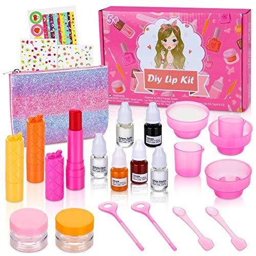Jojoin 24 Pcs Lippenbalsam Selber Machen, Kinderschmink Set Mädchen, Kinder Lippenstifte mit 3 fruchtigen Düften, 5 Behälter, 3 Farbstoffe - Kinderkosmetik Make-up-Set Geschenke für Mädchen Kinder 5+
