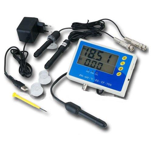 OCS.tec 6-IN-1 Multimeter Tester Messgerät Prüfer (EC, CF, TDS, PH, °C & Redox) Leitwert/Leitfähigkeit Aquarium Pool Teich P28