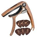 Anpro capodastre Guitare,Capo de Guitare en Grain de Bois avec 6 Mediators Unique, pour Guitare Acoustique et électrique, ukulélé, Mandoline et Banjo